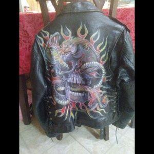 Genuine Harley Davidson Handpainted Leather Jacket